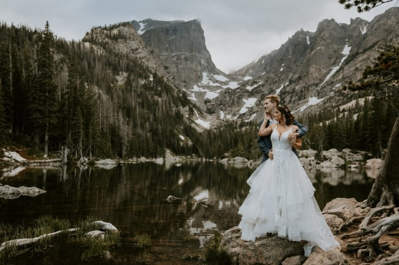 bride and groom at the Rocky Mountain.