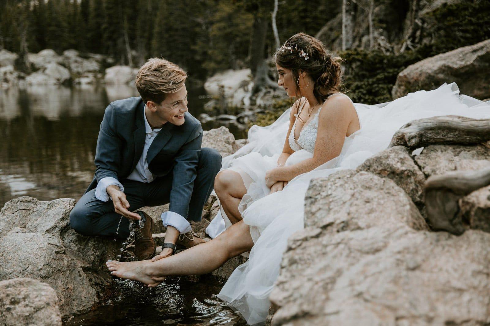 Groom washing bride's feet.