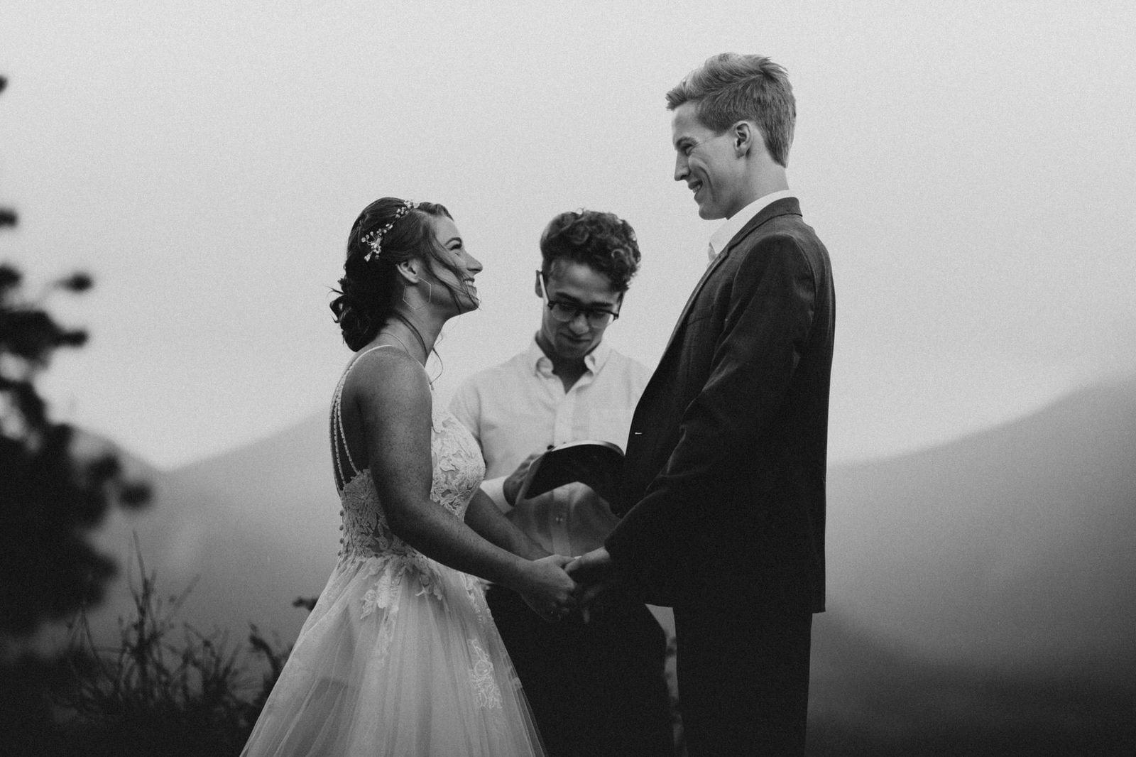 ceremony during Rocky Mountain wedding.