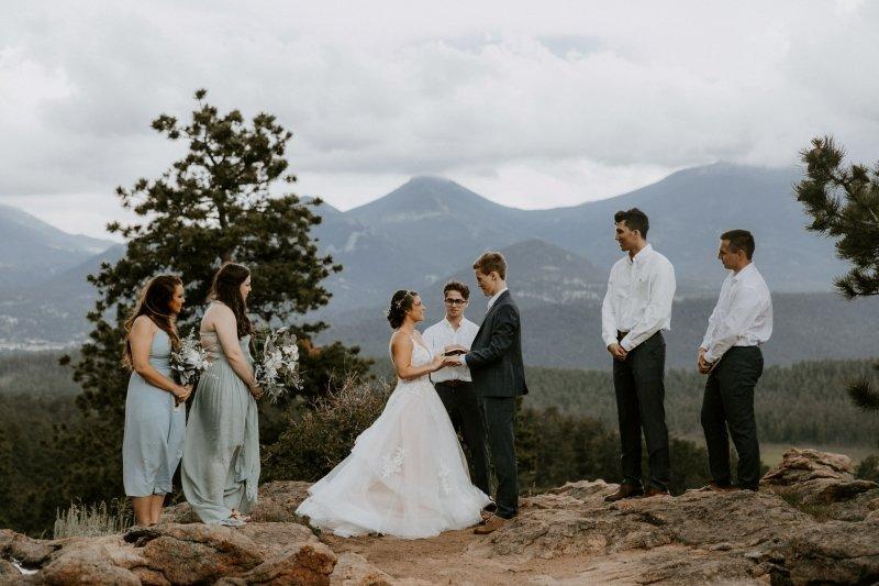 Exchanging vows during wedding.
