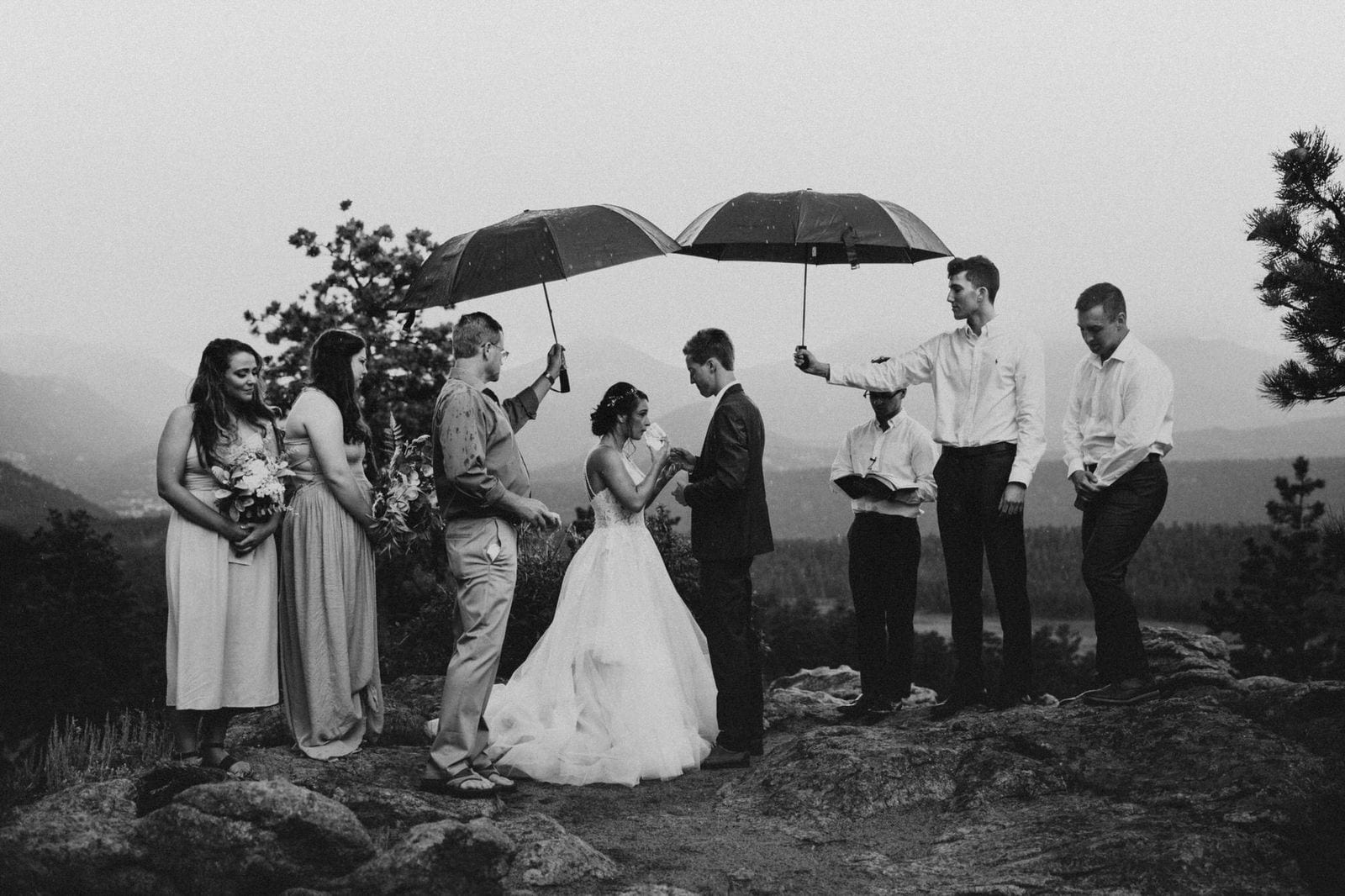 light rain at Rocky Mountain Intimate Wedding.