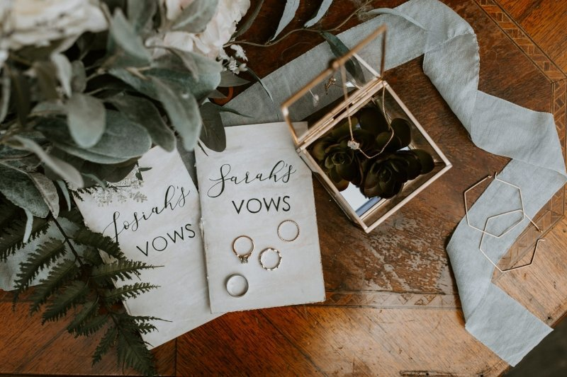detail photography of vows and rings.