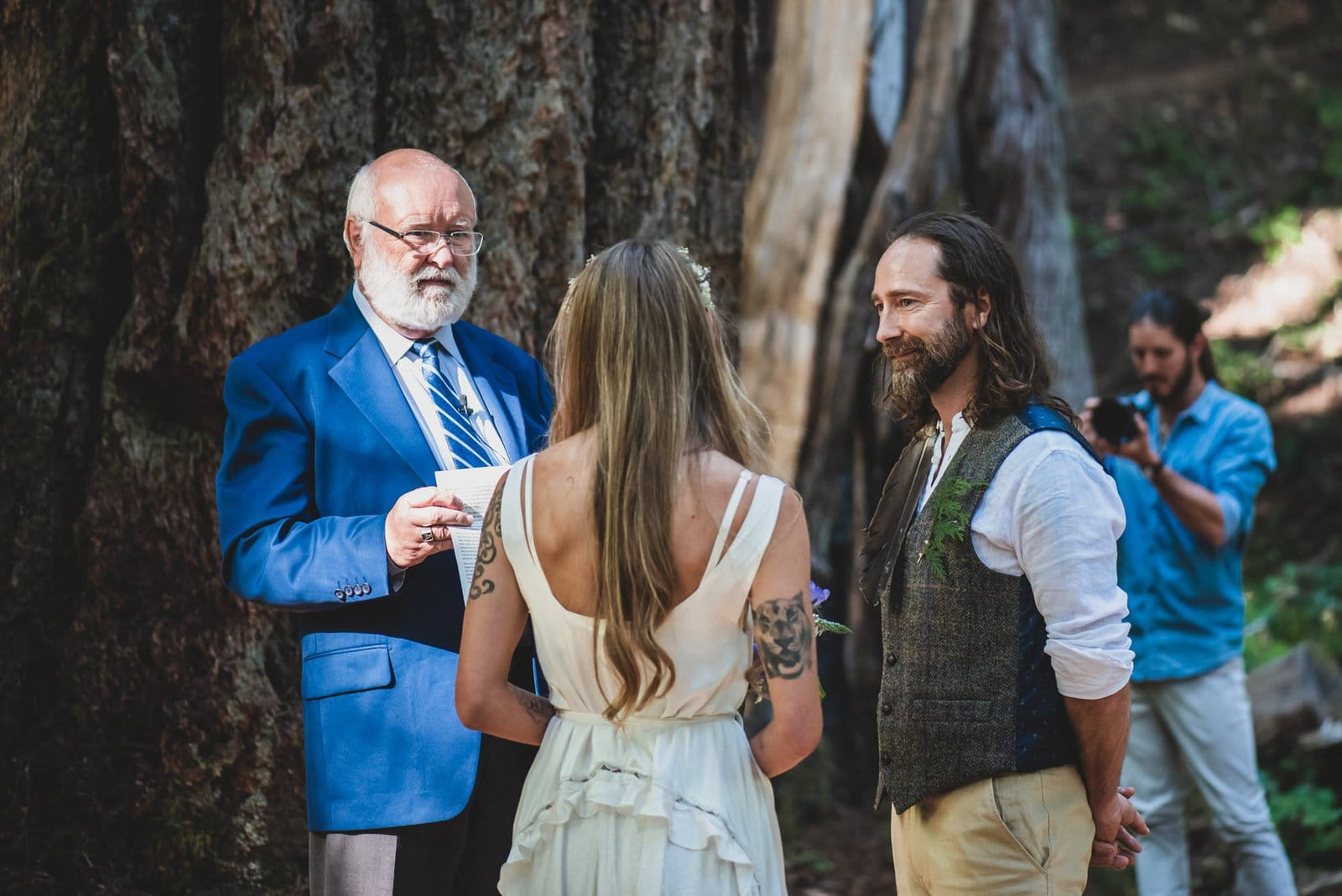 Intimate forest wedding ceremony.