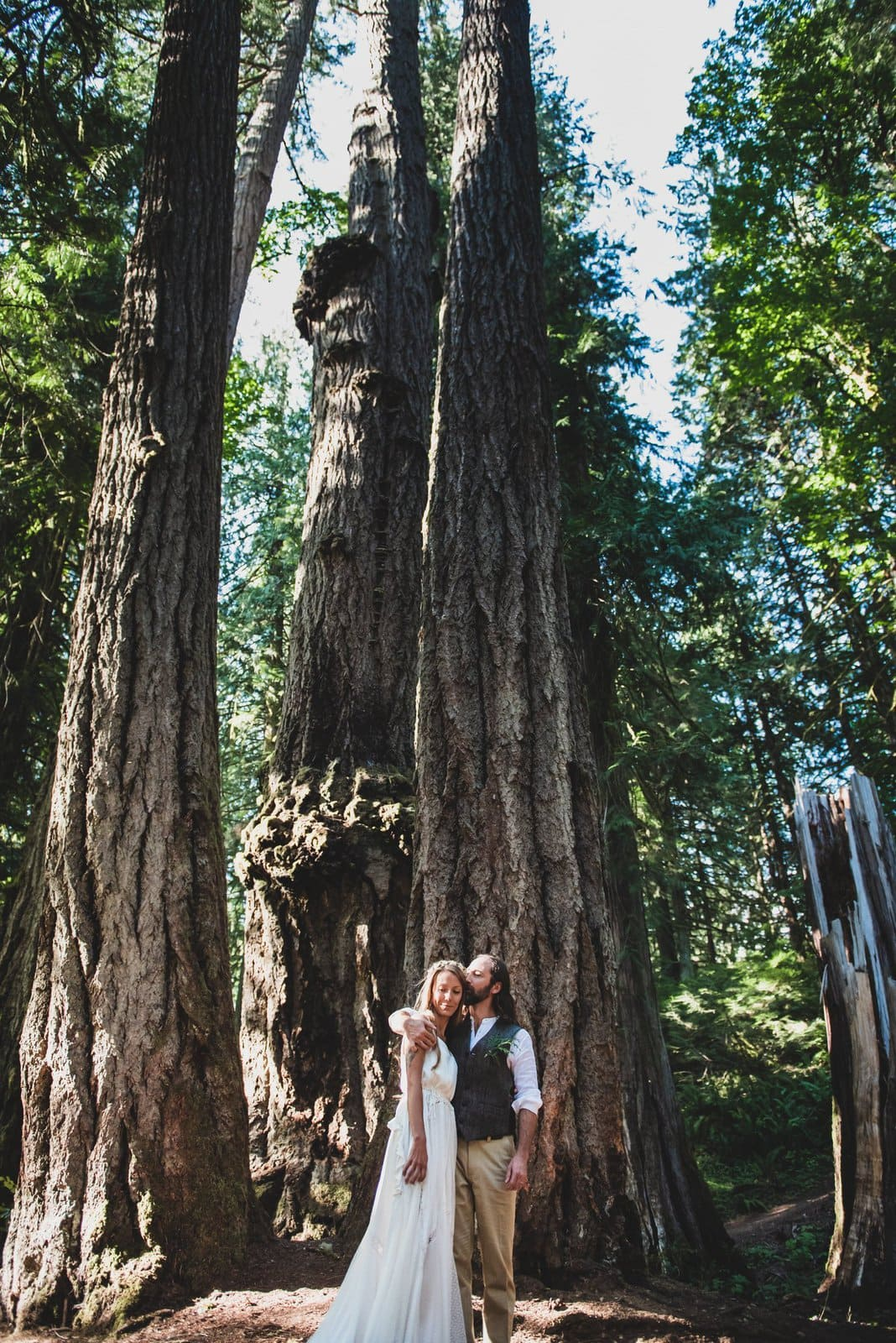 Wedding portraits in intimate forest wedding.
