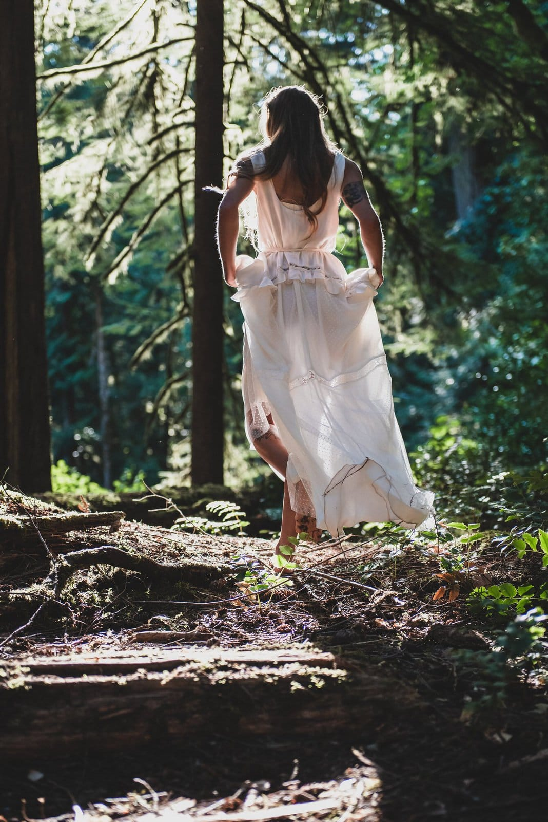 Bride hiking in Vancouver Island.