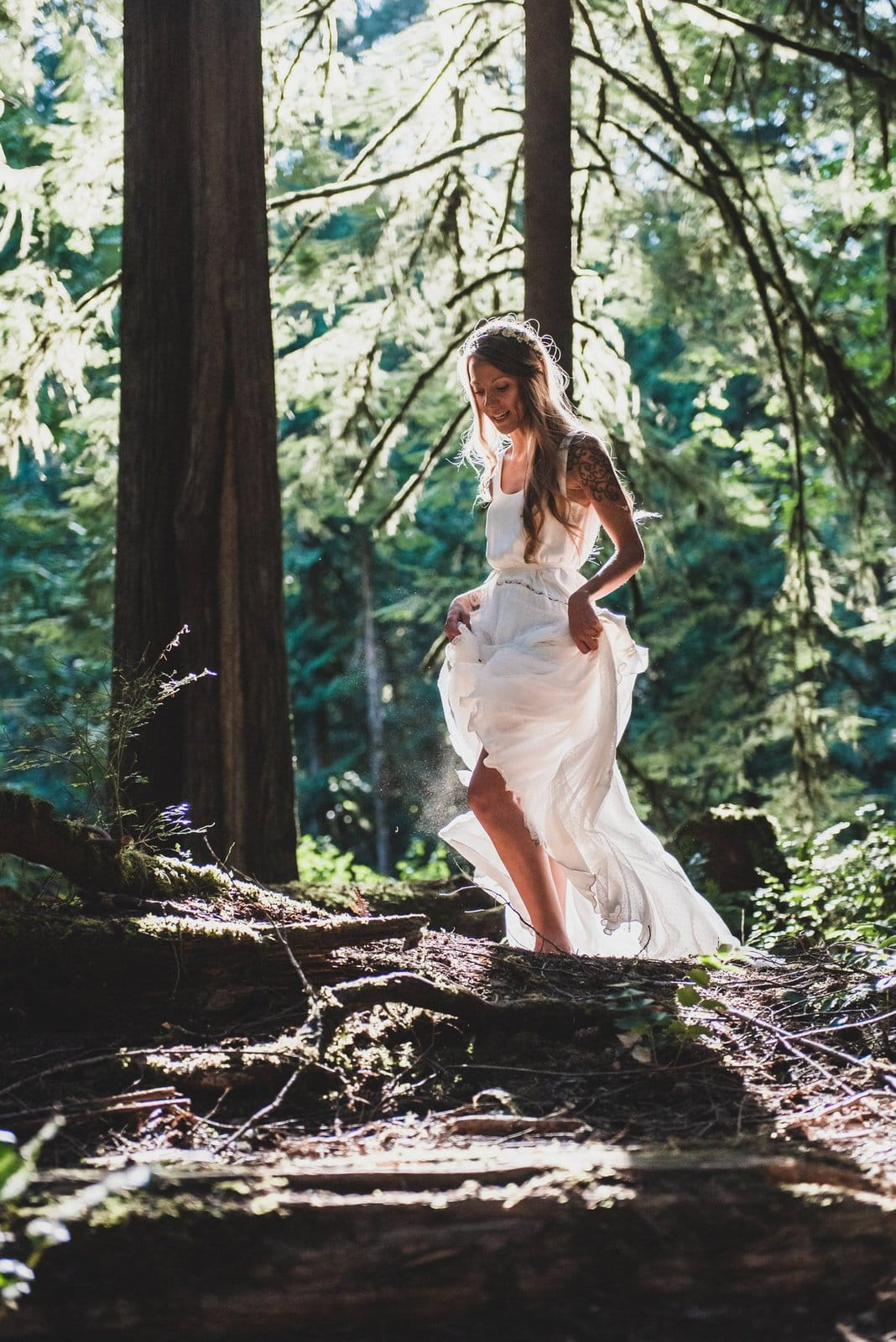 Bridal portrait in the forest.