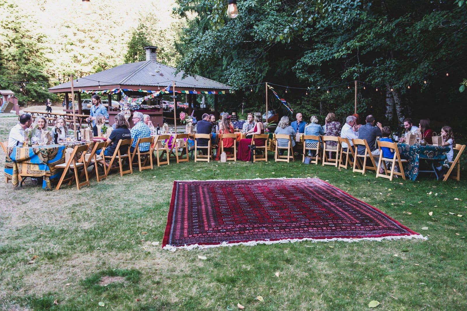 Intimate forest wedding reception.