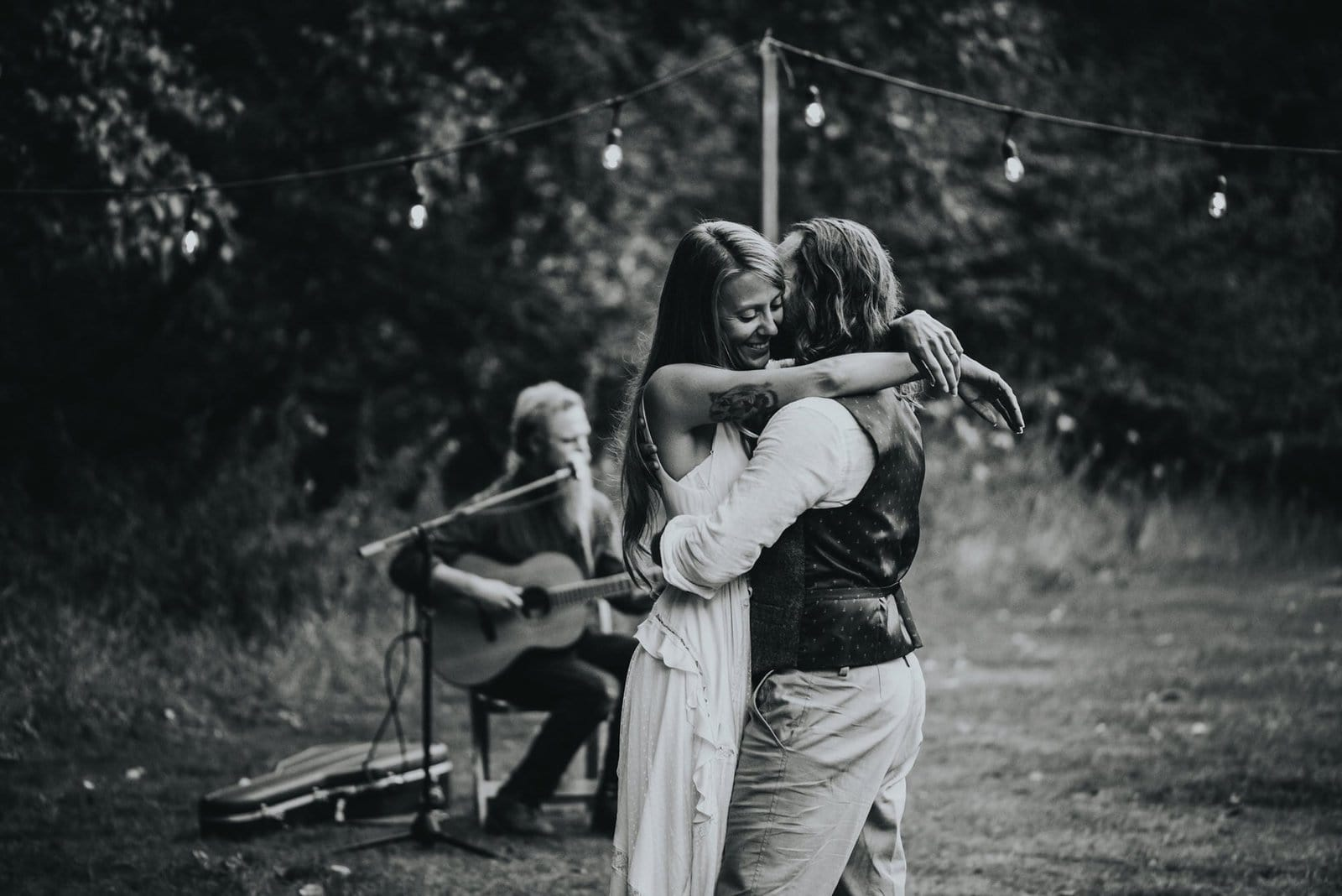 intimate forest wedding first dance.