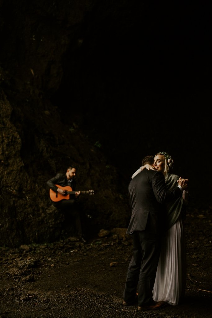 First dance with guitar in a cave.