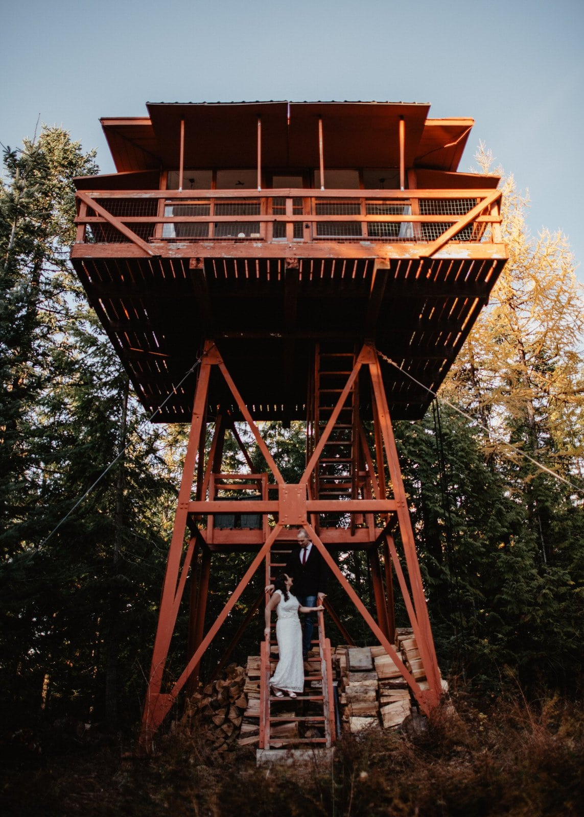 Idaho intimate wedding location on tower.