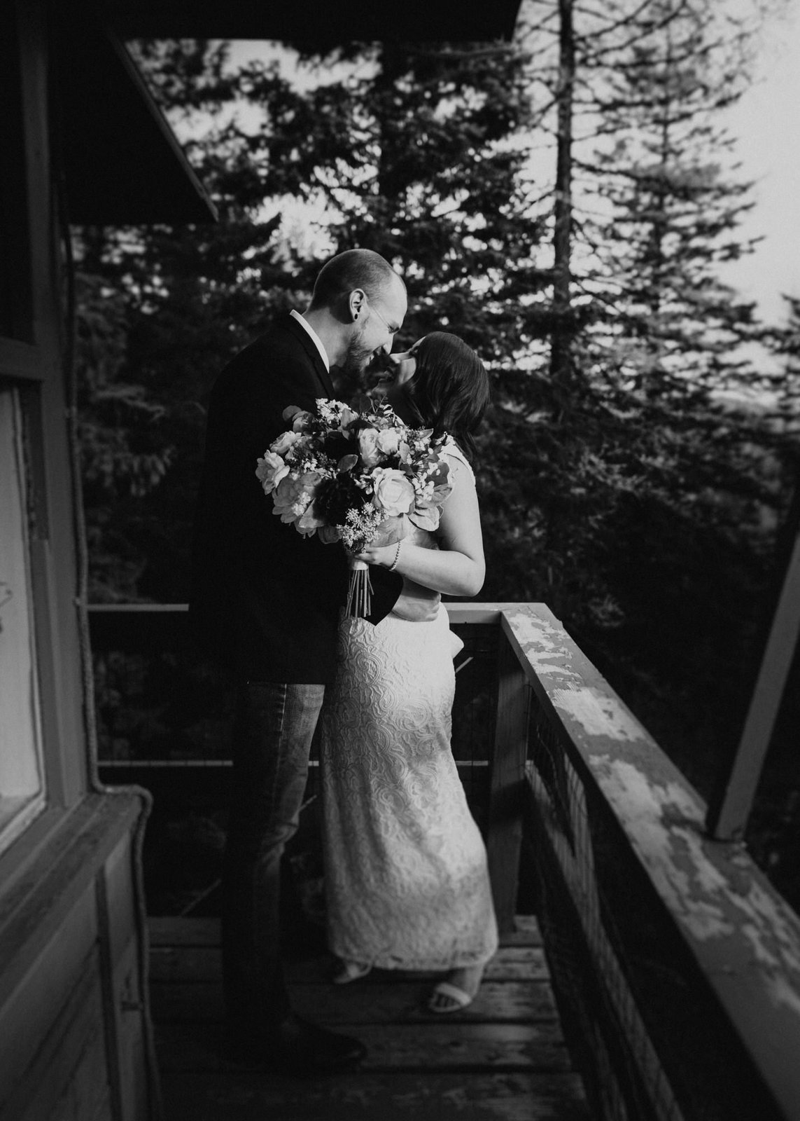 bride and groom embrace during intimate elopement.