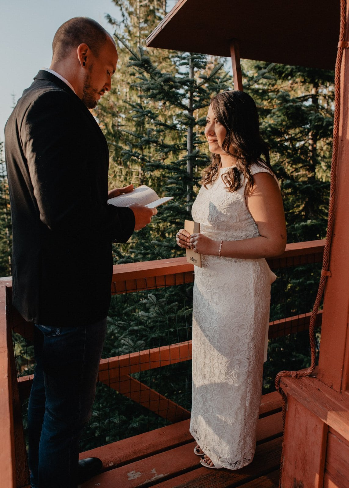 simple elopement vow exchange.
