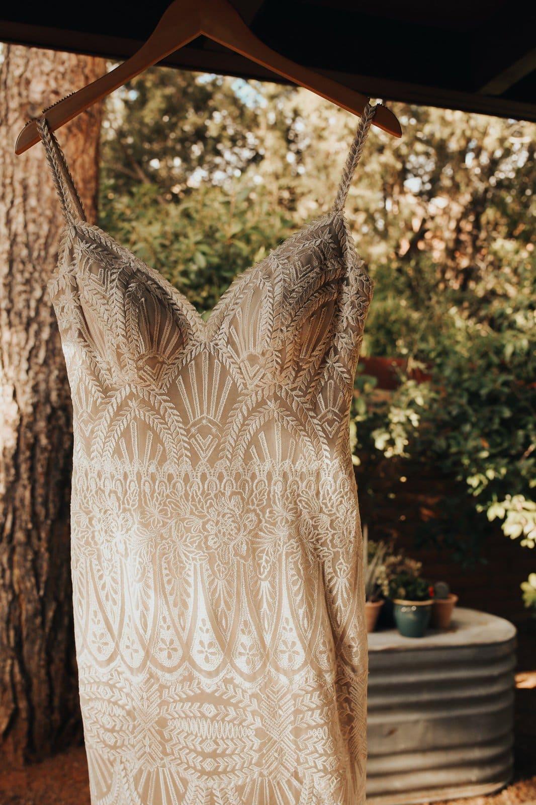detail shot of bridal dress.