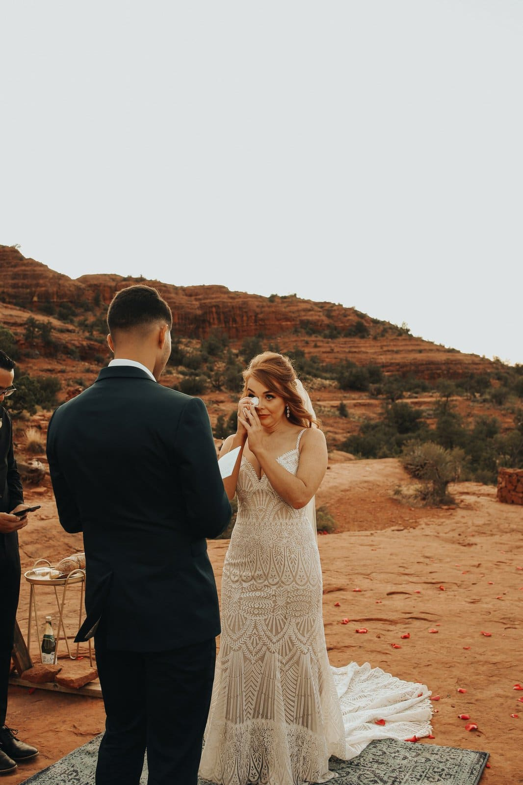bride cries during sedona red rocks elopement