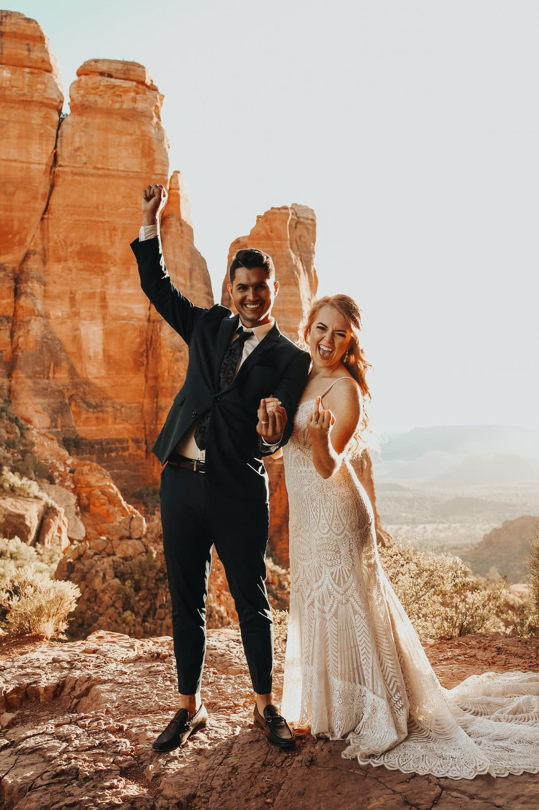 Couple celebrates marriage at Cathedral rock.