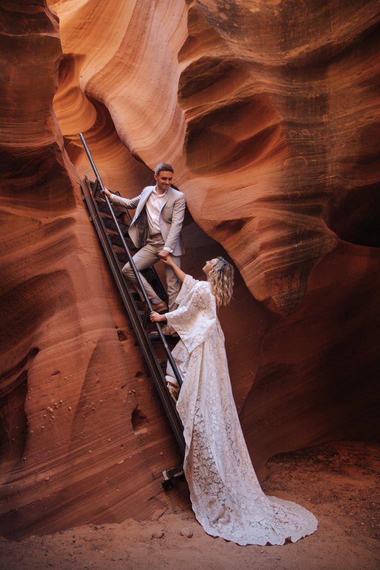 unique wedding portrait in a canyon.