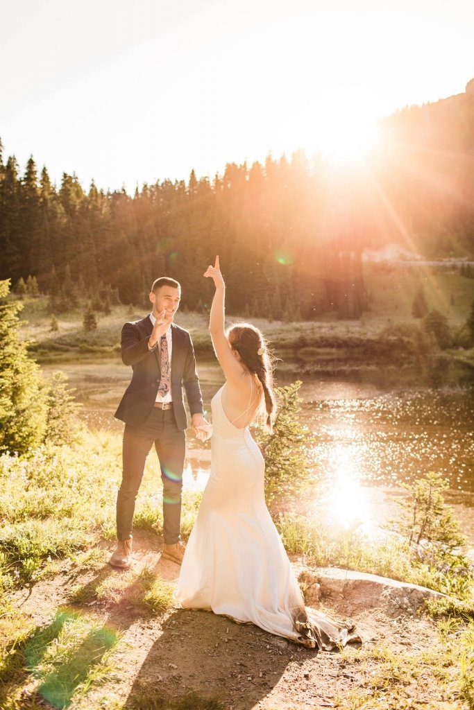 Sunset first dance elopement.