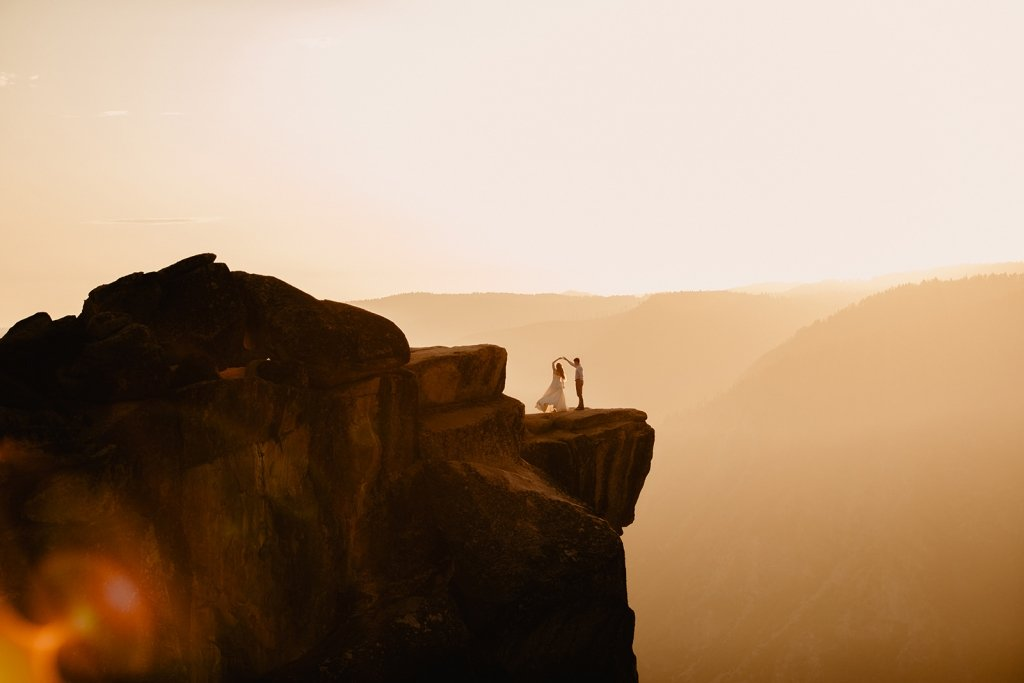 Bride and groom's first dance on a mountain.