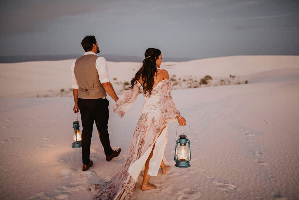 sunset glamping elopement