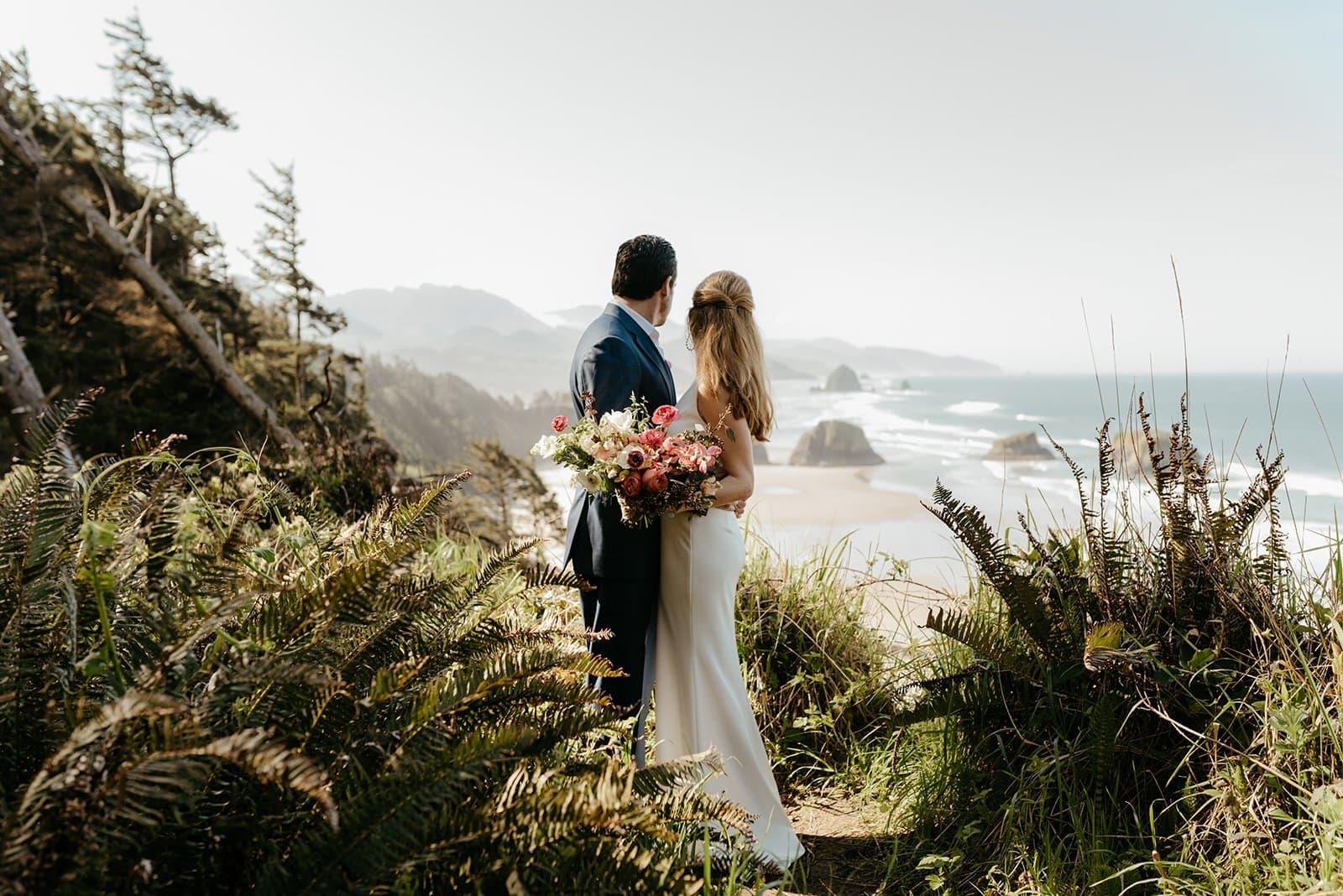 Wedding photos at cannon beach
