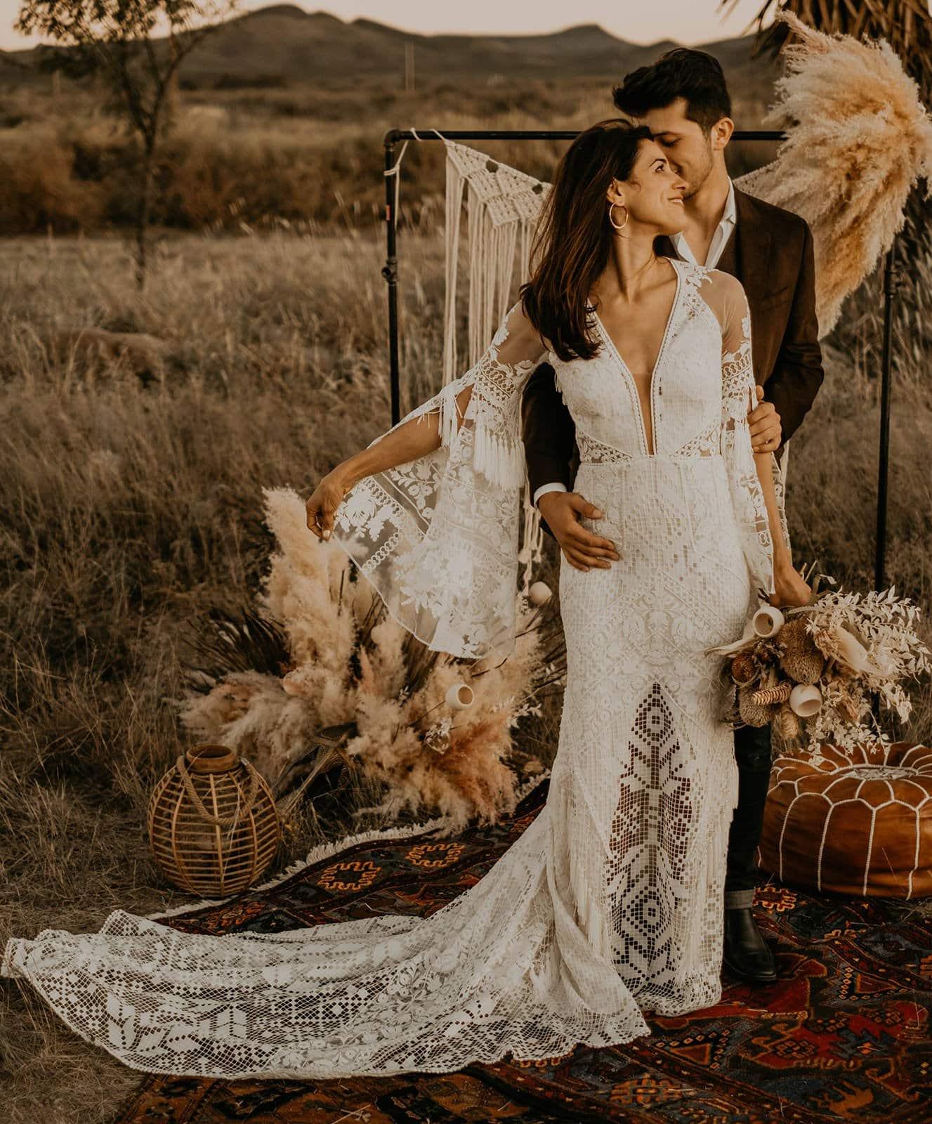 Boho bride and groom.
