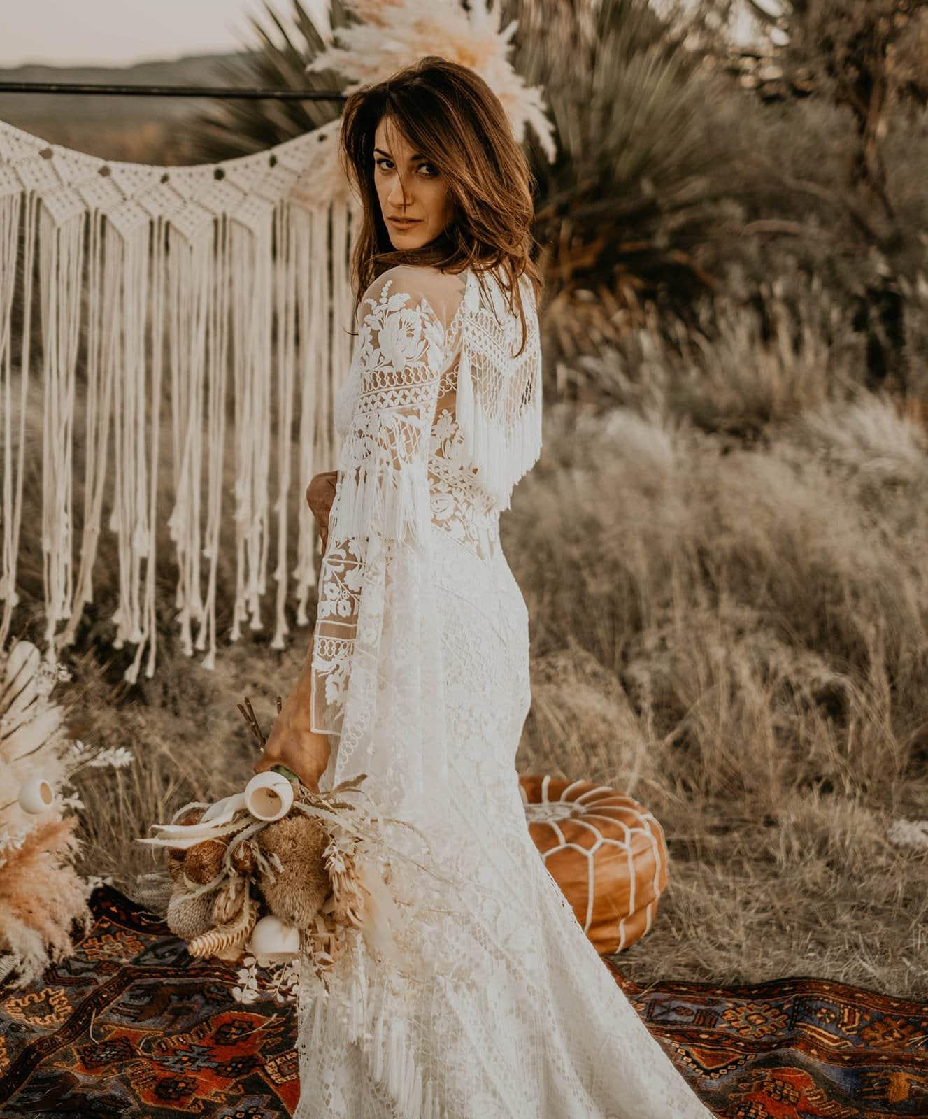 A&Be Bridal dress in boho wedding shoot.