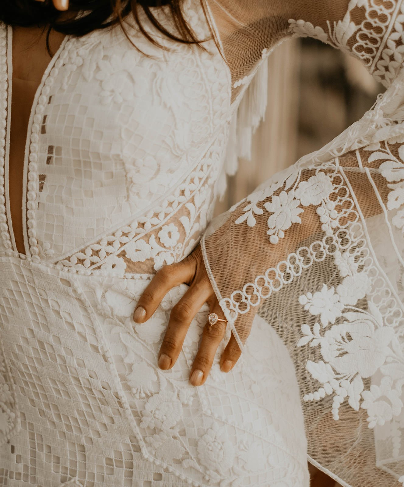 Detail of A&Be Bridal wedding dress.
