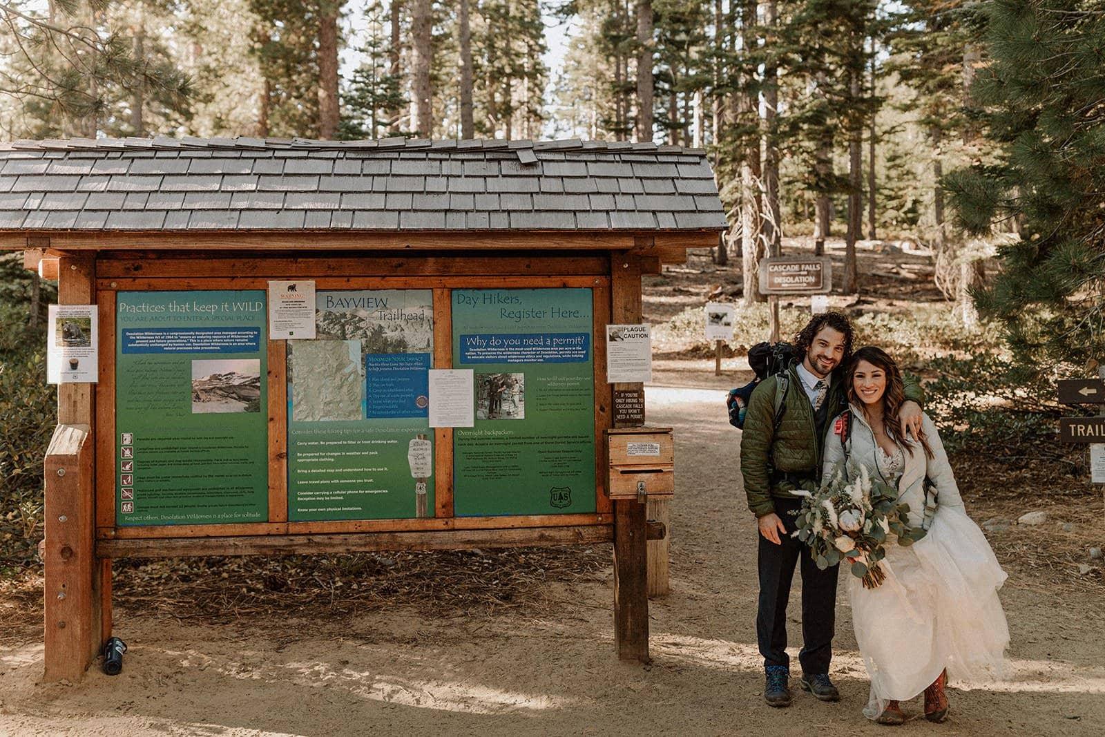 bride and groom wedding hike.