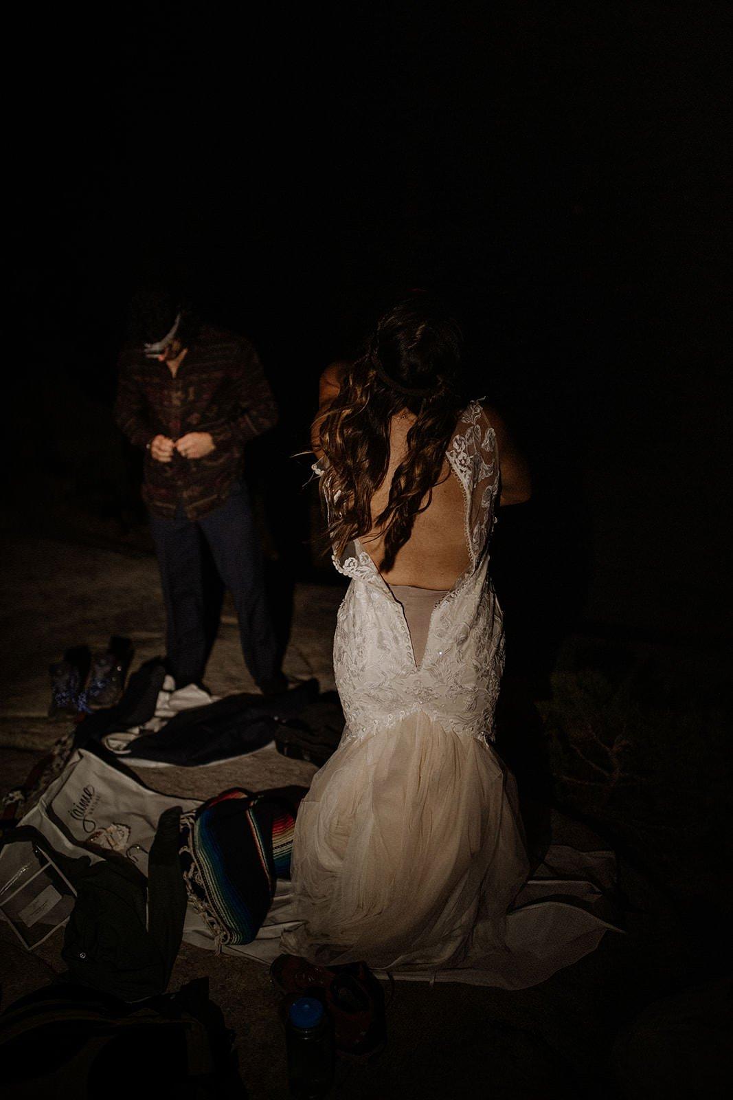 getting dressed during wedding adventure