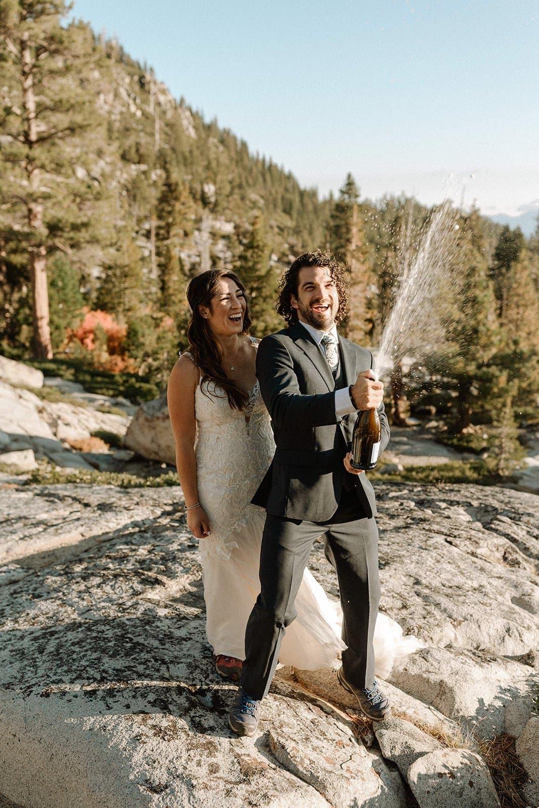 popping champagne wedding adventure