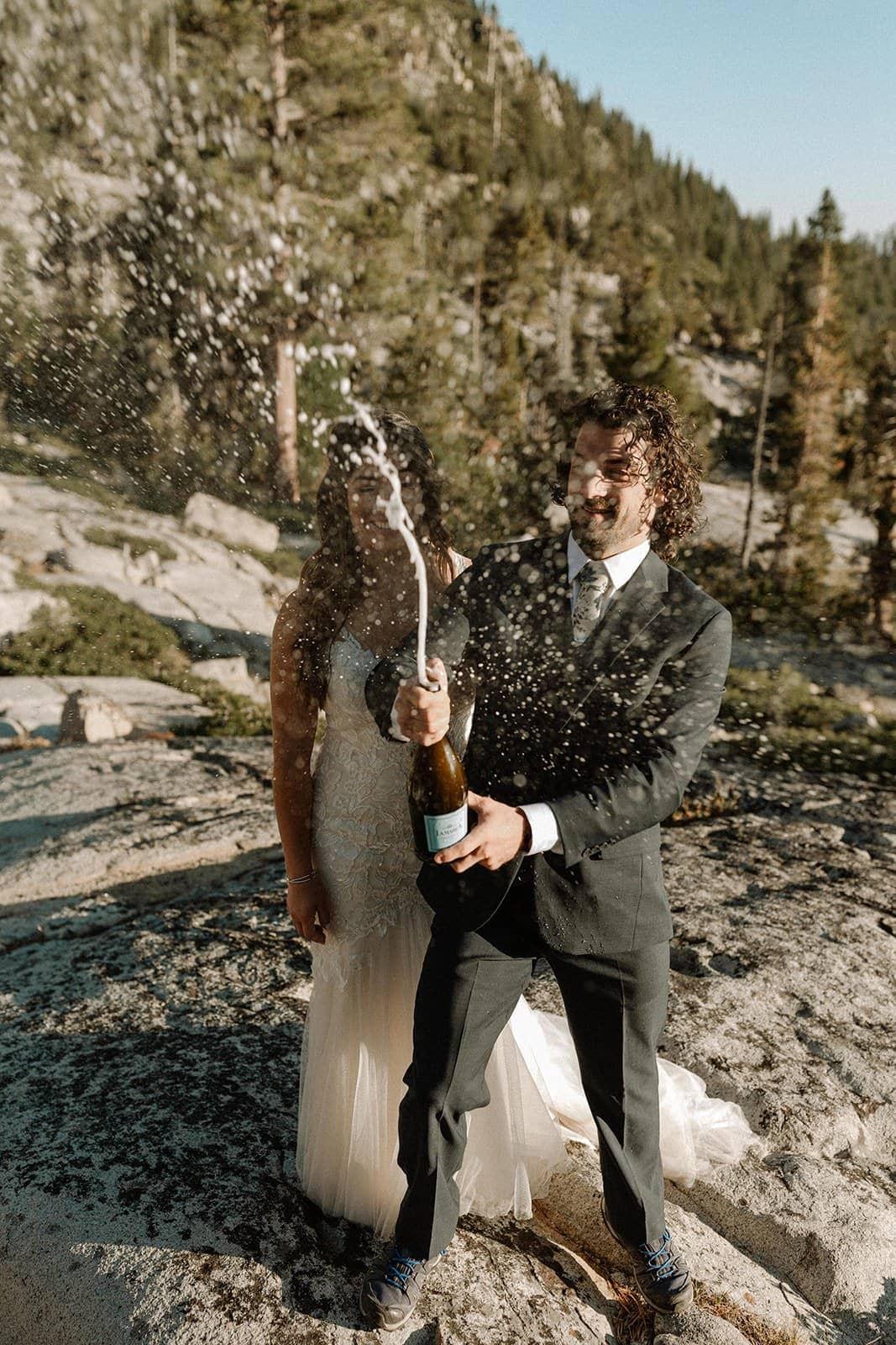 groom pops bottle at lake tahoe