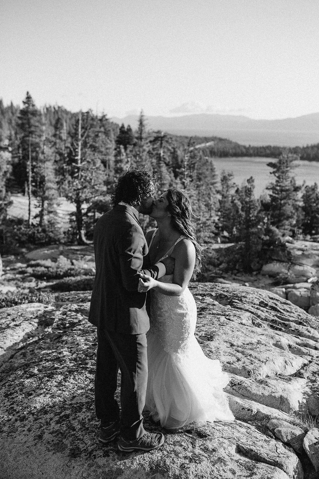 bride and groom slow dancing on wedding adventure
