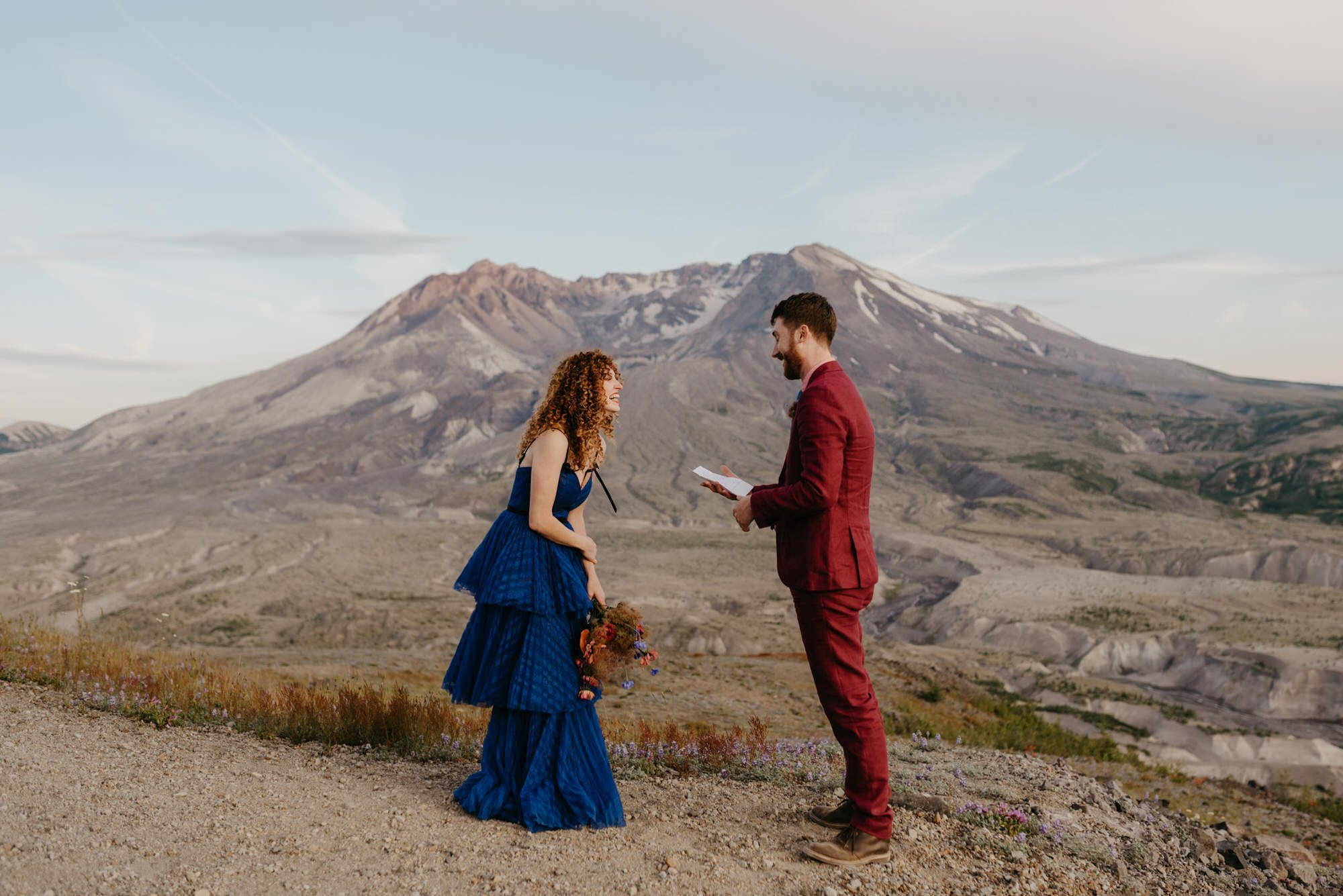 couple exchanging vows on Mt. Saint Helens in Washington State elopement