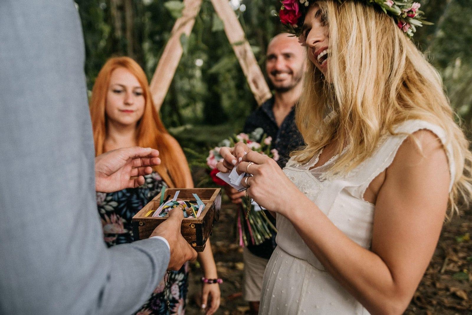 bride during ceremony.