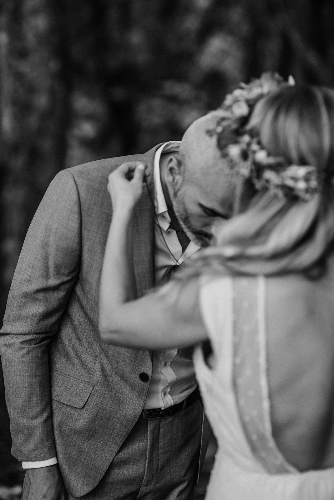 intimate moment during wedding.