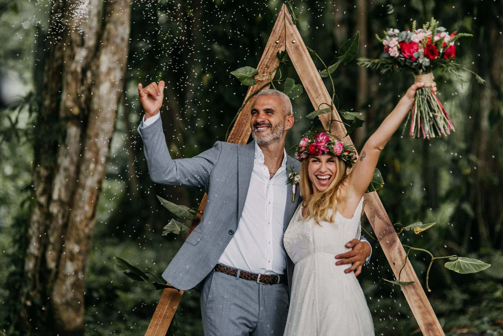 bride and groom during costa rica elopement.