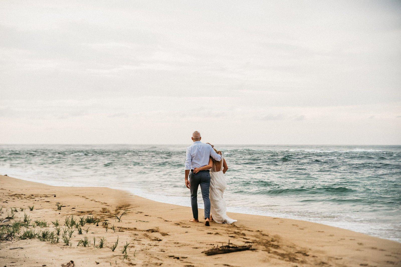 beach walks for bride and groom.