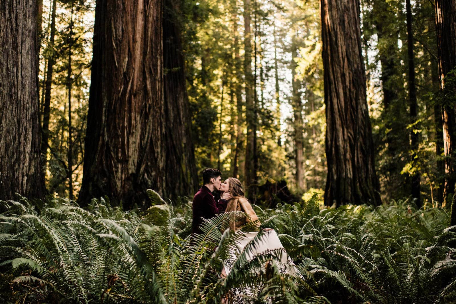 couple taking elopement photos in redwood national forest
