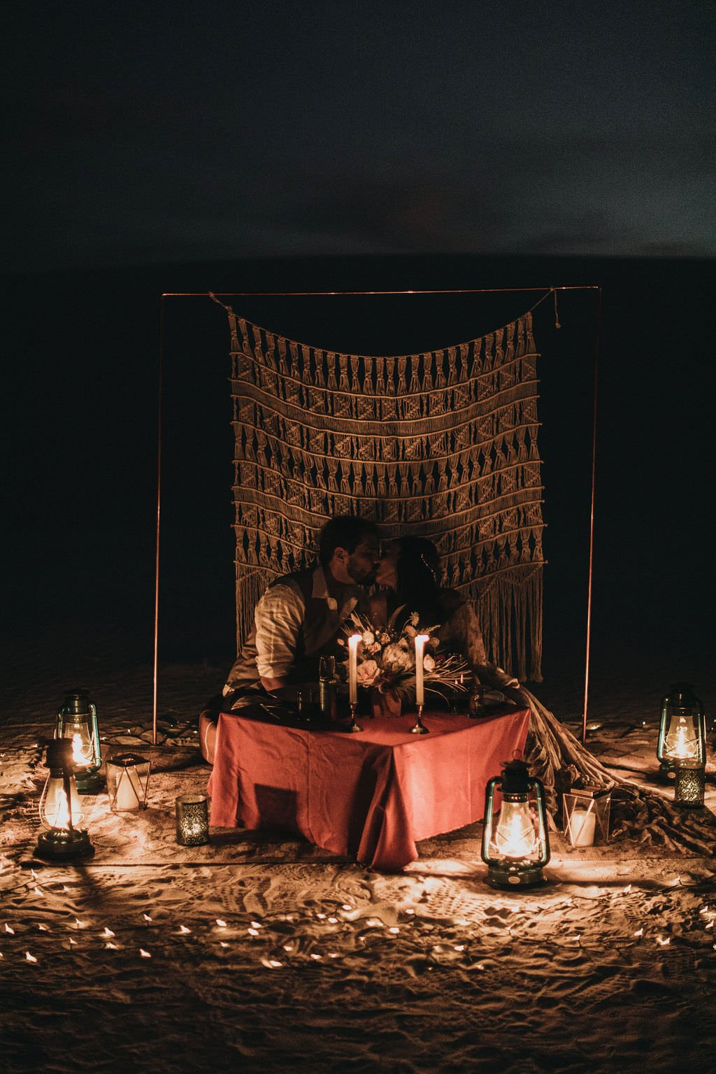 nighttime desert elopement