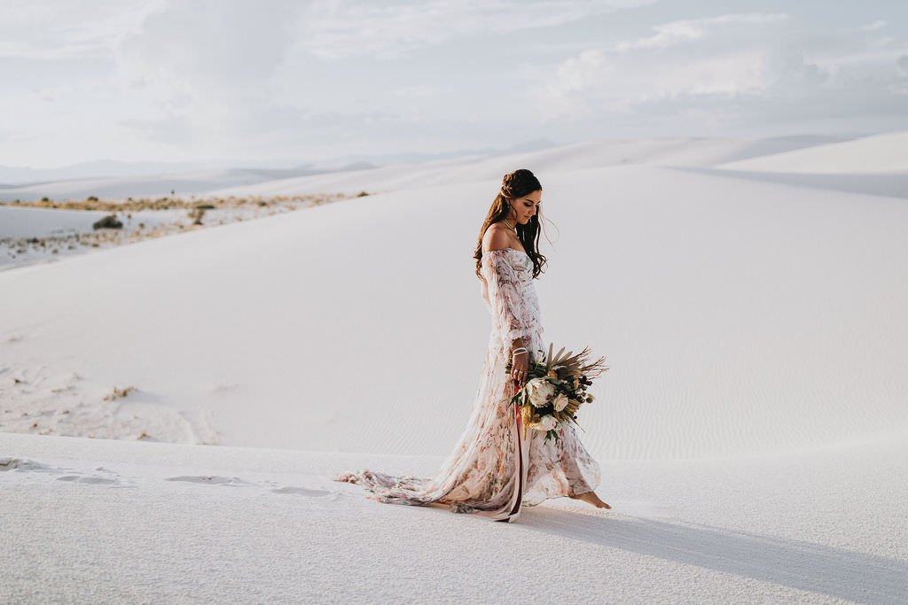 bride walking in desert