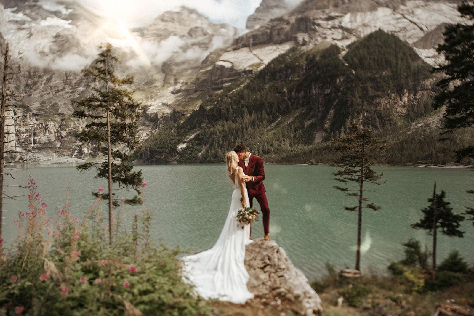 swiss alps elopement photo of bride and groom