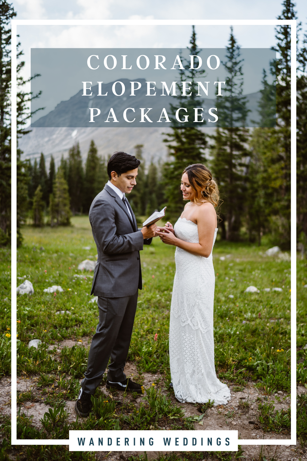 couple exchanging vows during colorado elopement, colorado elopement packages for couples to plan their wedding day