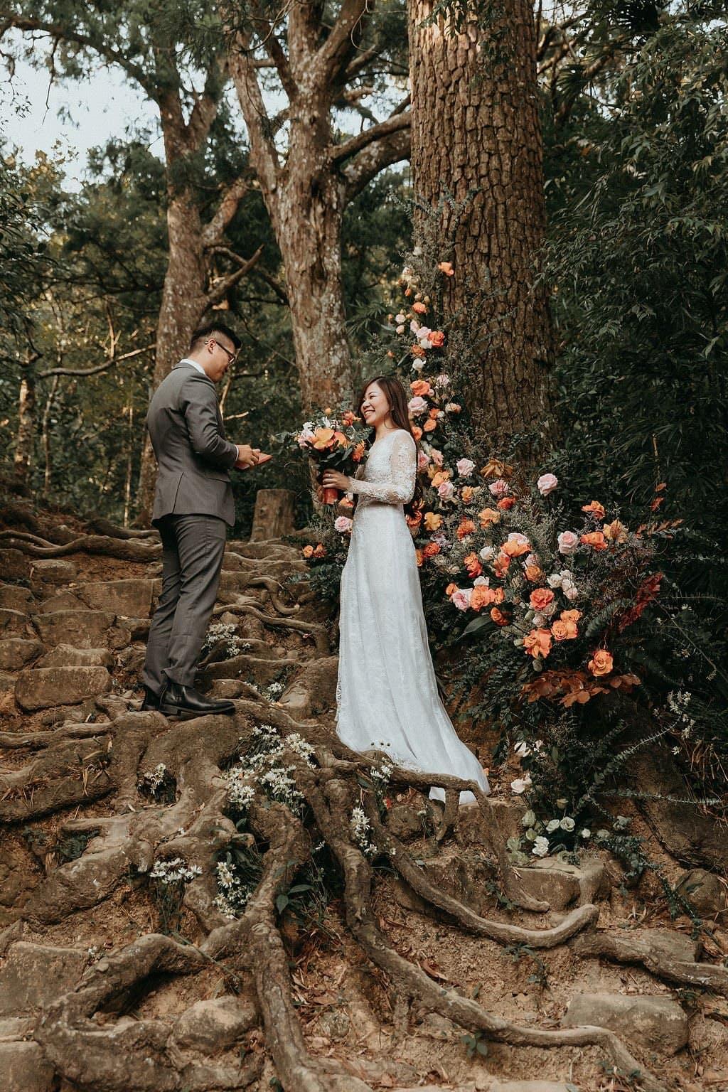 Vietnam wedding on mountain.