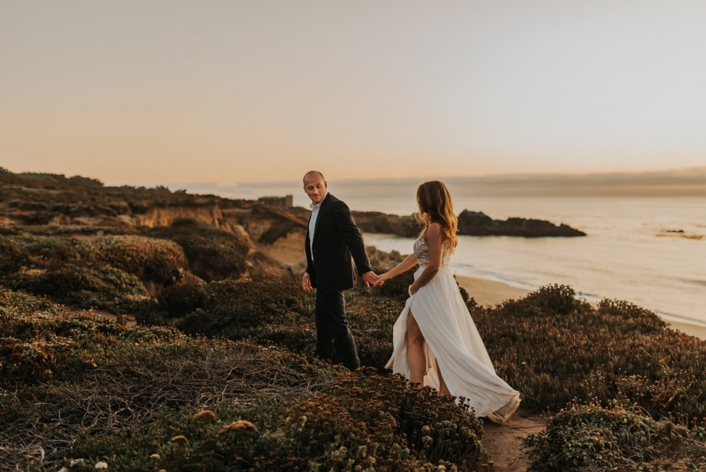 bride and groom walking in Big Sur