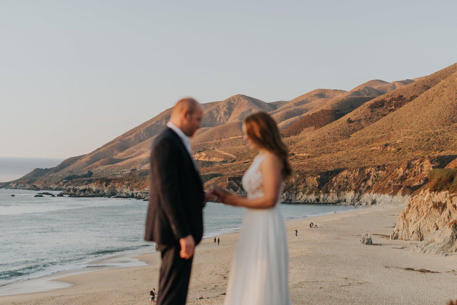 groom says vows in Big Sur