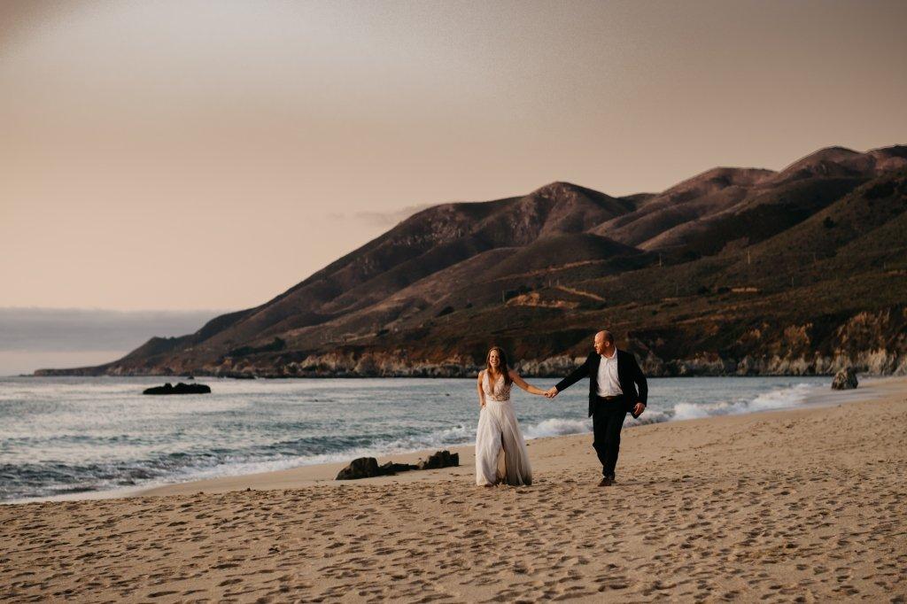 bride and groom by Big Sur beach