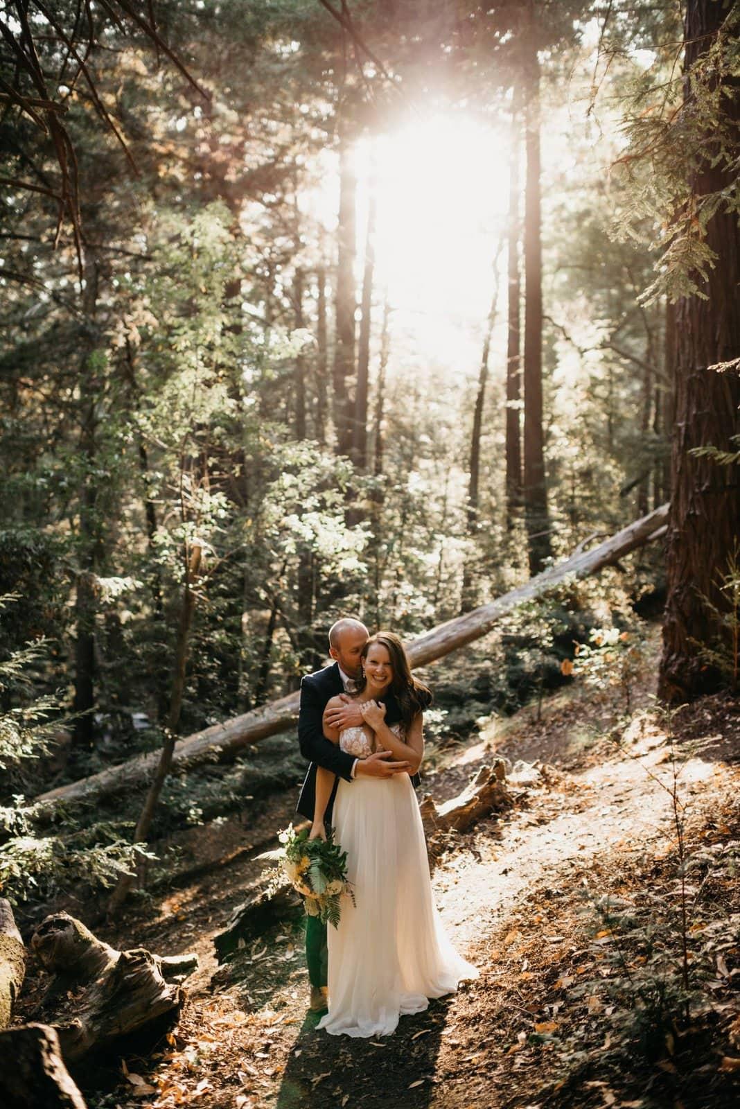 bridal portraits for elopement in redwoods.
