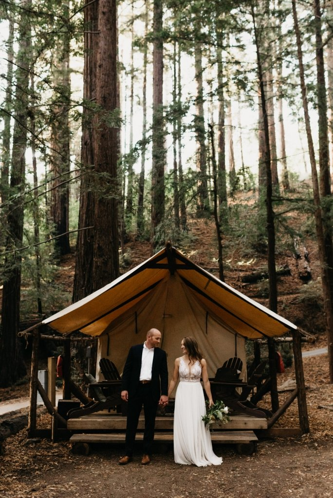 bride and groom camping in the Redwoods