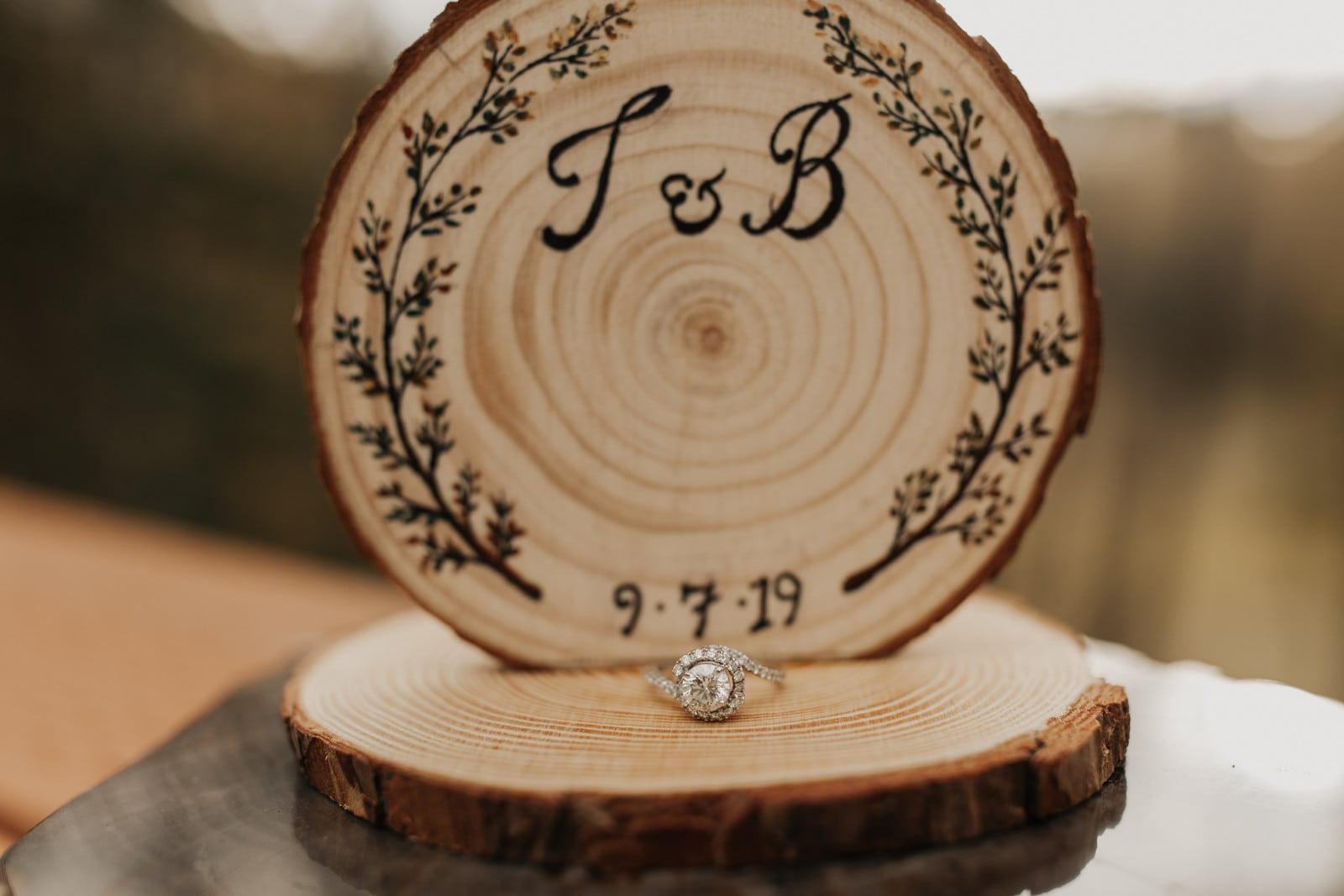photo of rings on wedding day