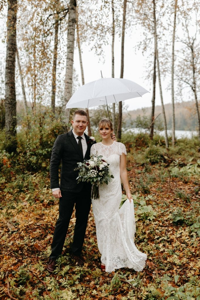 bride and groom during rainy wedding